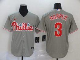 Mens Mlb Philadephia Phillies #3 Bryce Harper Gray Cool Base Nike Jersey