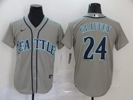 Mens Mlb Seattle Mariners #24 Ken Griffey Jr Gray Cool Base Nike Jersey