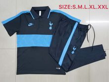 Mens 20-21 Soccer France National Team Blue Polo Shirt And Blue Sweat Pants Training Suit ( Turn-down Collar )