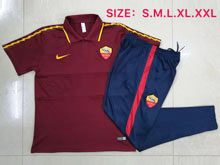 Mens 20-21 Soccer As Roma Club Red Polo Shirt And Blue Sweat Pants Training Suit ( Turn-down Collar )