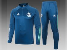 Mens Soccer Flamengo Rj Club Dart Blue Training And Blue Sweat Pants Training Suit ( Half Zipper )
