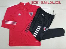 Mens 20-21 Soccer Sao Paulo Red Training And Black Sweat Pants Training Suit ( Long Zipper )