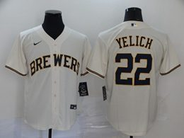 Mens Mlb Milwaukee Brewers #22 Christian Yelich White Cool Base Nike Jersey