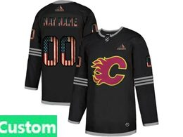Mens Nhl Calgary Flames Custom Made Black 2020 National Flag Adidas Jersey