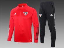 Mens 20-21 Soccer Sao Paulo Red Training And Black Sweat Pants Training Suit ( Half Zipper )