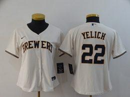 Women Mlb Milwaukee Brewers #22 Christian Yelich White Cool Base Nike Jersey