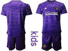 Kids 20-21 Soccer Atlanta United Club ( Custom Made ) Purple Goalkeeper Short Sleeve Suit Jersey