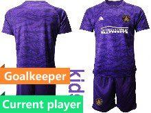 Kids 20-21 Soccer Atlanta United Club Current Player Purple Goalkeeper Short Sleeve Suit Jersey