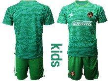 Kids 20-21 Soccer Atlanta United Club ( Custom Made ) Green Goalkeeper Short Sleeve Suit Jersey