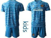 Kids 20-21 Soccer Atlanta United Club ( Custom Made ) Blue Goalkeeper Short Sleeve Suit Jersey