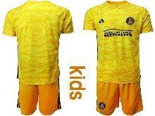 Kids 20-21 Soccer Atlanta United Club ( Custom Made ) Yellow Goalkeeper Short Sleeve Suit Jersey