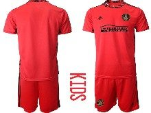 Kids 20-21 Soccer Atlanta United Club ( Custom Made ) Red Goalkeeper Short Sleeve Suit Jersey