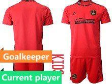 Kids 20-21 Soccer Atlanta United Club Current Player Red Goalkeeper Short Sleeve Suit Jersey