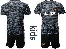 Kids 20-21 Soccer Atlanta United Club ( Custom Made ) Black Goalkeeper Short Sleeve Suit Jersey