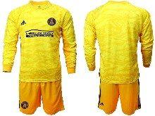 Mens 20-21 Soccer Atlanta United Club ( Custom Made ) Yellow Goalkeeper Long Sleeve Suit Jersey