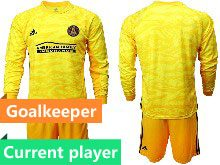 Mens 20-21 Soccer Atlanta United Club Current Player Yellow Goalkeeper Long Sleeve Suit Jersey