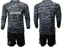 Mens 20-21 Soccer Atlanta United Club ( Custom Made ) Black Goalkeeper Long Sleeve Suit Jersey
