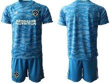 Mens 20-21 Soccer Los Angeles Galaxy Club ( Custom Made ) Blue Goalkeeper Short Sleeve Suit Jersey