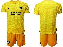 Mens 20-21 Soccer Los Angeles Galaxy Club ( Custom Made ) Yellow Goalkeeper Short Sleeve Suit Jersey