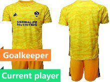 Mens 20-21 Soccer Los Angeles Galaxy Club Current Player Yellow Goalkeeper Short Sleeve Suit Jersey