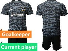 Mens 20-21 Soccer Los Angeles Galaxy Club Current Player Black Goalkeeper Short Sleeve Suit Jersey