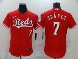 Mens Mlb Cincinnati Reds #7 Eugenio Suarez Red Flex Base Nike Jersey