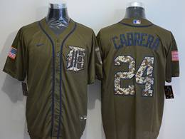Mens Women Mlb Detroit Tigers #24 Miguel Cabrera Army Green Cool Base Nike Jersey