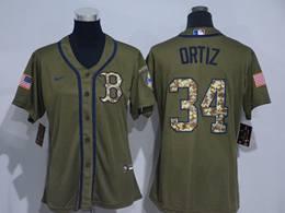 Mens Women Mlb Boston Red Sox #34 David Ortiz Army Green Cool Base Nike Jersey