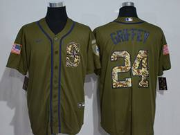 Mens Mlb Seattle Mariners #24 Ken Griffey Jr Army Green Cool Base Nike Jersey