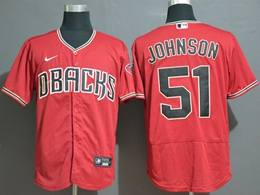 Mens Mlb Arizona Diamondbacks #51 Randy Johnson Red Flex Base Nike Jersey