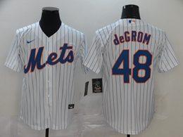 Mens Mlb New York Mets #48 Jacob Degrom White Stripe Cool Base Nike Jersey