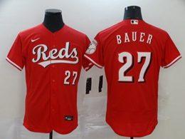 Mens Mlb Cincinnati Reds #27 Bauer Red Flex Base Nike Jersey