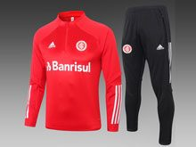 Mens 20-21 Soccer Sport Club Internacional Red Training And Black Sweat Pants Training Suit  ( Half Zipper )