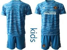 Kids 20-21 Soccer Club Toronto Fc ( Custom Made ) Blue Goalkeeper Short Sleeve Suit Jersey