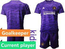 Kids 20-21 Soccer Club Toronto Fc Current Player Purple Goalkeeper Short Sleeve Suit Jersey