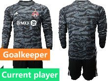 Mens 20-21 Soccer Club Toronto Fc Current Player Black Goalkeeper Short Sleeve Suit Jersey