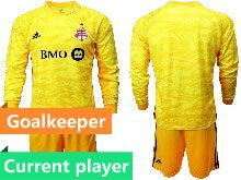 Mens 20-21 Soccer Club Toronto Fc Current Player Yellow Goalkeeper Short Sleeve Suit Jersey