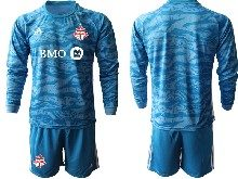Mens 20-21 Soccer Club Toronto Fc ( Custom Made ) Blue Goalkeeper Long Sleeve Suit Jersey