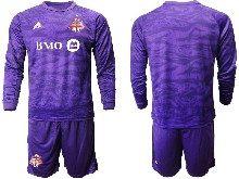 Mens 20-21 Soccer Club Toronto Fc ( Custom Made ) Purple Goalkeeper Long Sleeve Suit Jersey