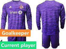 Mens 20-21 Soccer Club Toronto Fc Current Player Purple Goalkeeper Short Sleeve Suit Jersey