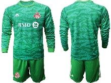 Mens 20-21 Soccer Club Toronto Fc ( Custom Made ) Green Goalkeeper Long Sleeve Suit Jersey