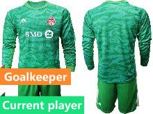 Mens 20-21 Soccer Club Toronto Fc Current Player Green Goalkeeper Short Sleeve Suit Jersey