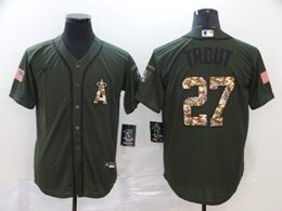 Mens Mlb Los Angeles Angels #27 Mike Trout Army Green Cool Base Nike Jersey