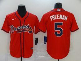 Mens Mlb Atlanta Braves #5 Freddie Freeman Red Cool Base Nike Jersey
