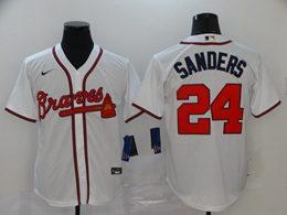 Mens Mlb Atlanta Braves #24 Deion Sanders White Cool Base Nike Jersey