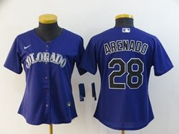 Women Mlb Colorado Rockies #28 Nolan Arenado Purple Cool Base Nike Jersey
