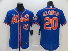 Mens Mlb New York Mets #20 Pete Alonso Blue Flex Base Nike Jersey