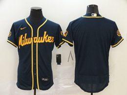 Mens Mlb Milwaukee Brewers Blank Navy Blue Flex Base 2020 Nike Jersey