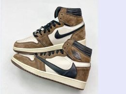 Mens And Women Travis Scott And Nike Air Jordan 1 High Running Shoes One Color