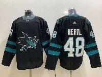 Mens Adidas Nhl San Jose Sharks #48 Hertl Alternate Black Jersey